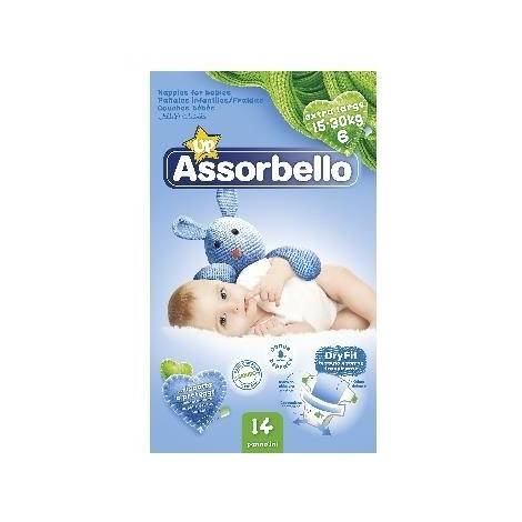 ASSORBELLO Dry Fit 6 Extra-Large 15-30Kg 14 Pannolini